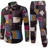 Mens Vacation Set Linen Long Pant Ethnic Style Patchwork Male Suit Festival Wear Plus Size 5XL Europe Slim Shirt  Autumn New