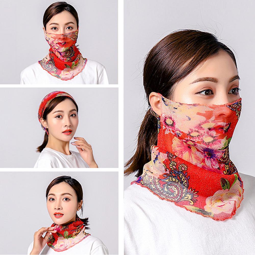 Women Soft Printed Breathable Sun Protection Face Mask Neck Gaiter Headband Bufanda De Mujer маска защита Fast Shipments