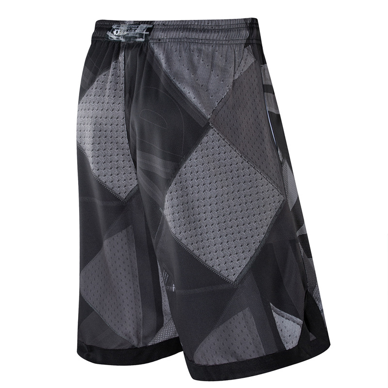 Спортивные мужские шорты для занятия баскетболом сетка печать KD логотип вышивка выше колена карманы кушак быстросохнущие дышащие размер плюс 3XL