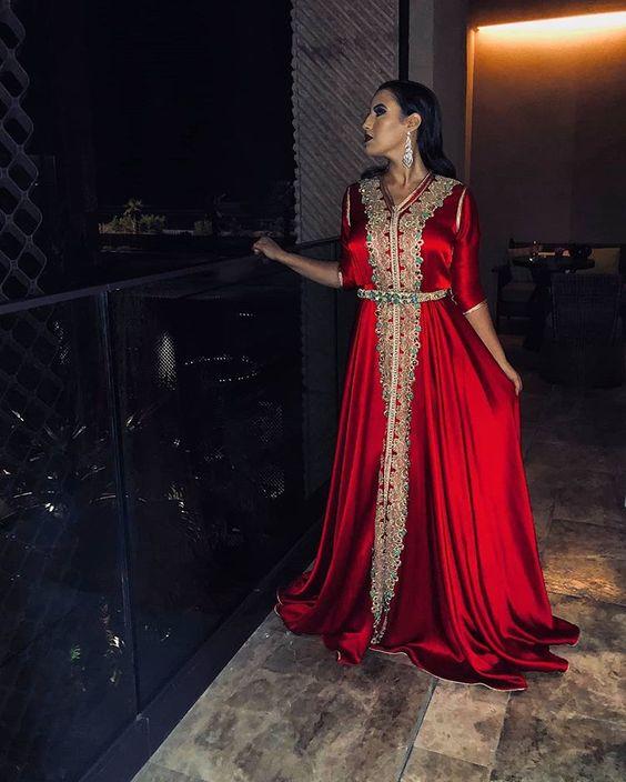 Red Moroccan Kaftan Muslim Evening Dress Half Sleeve Gold Lace Islamic Dubai Kaftan Saudi Arabic Evening Gown Prom Dress