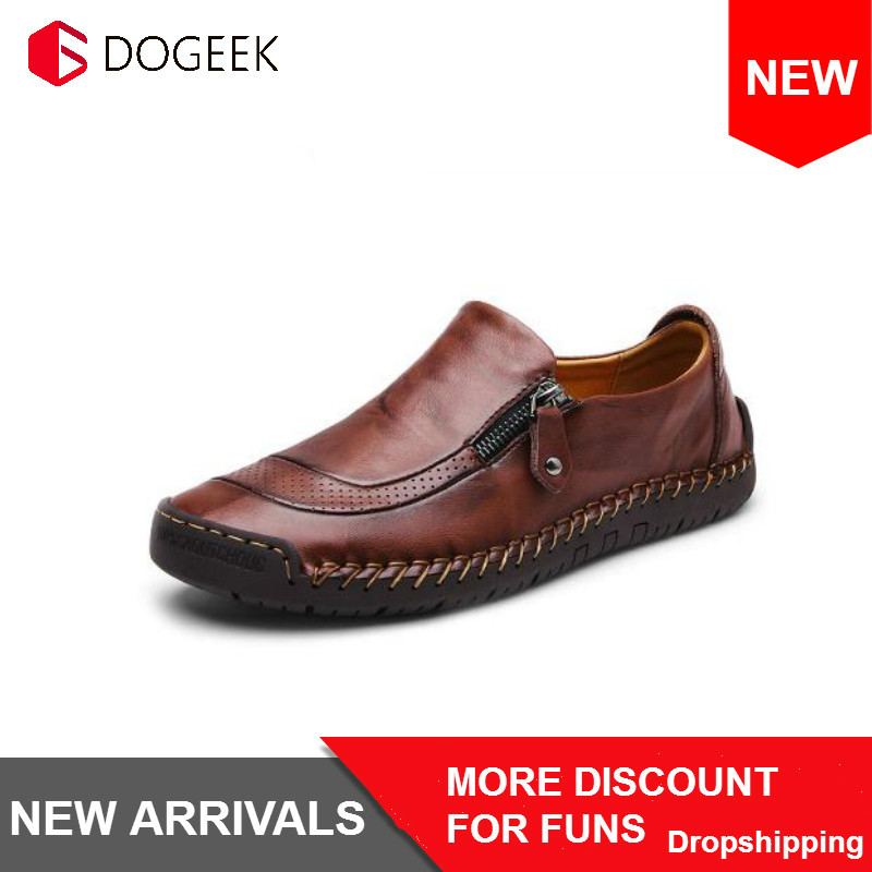 DOGEEK High Quality Men Shoes Leather Casual Loafers Breathable Flats Soft Light Shoes Fashion Men's Driving Footwear Size 48