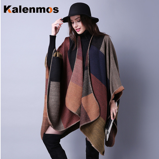 Blanket Scarf Fall Winter Thick Wrap Poncho Women Plaid Travel Shawl Imitation Cashmere Capes National Wind Fork Thicker Cloak 4