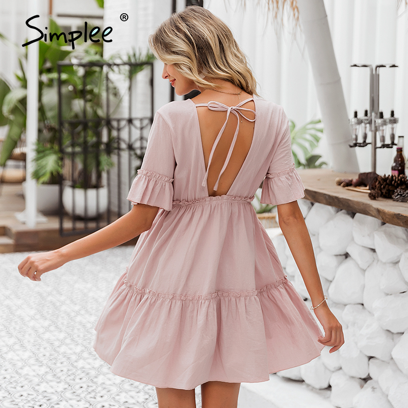 Simplee Sexy ruffled women dress Solid short sleeve o neck spring summer dress Casual ladies a-line chic cotton soft mini dress