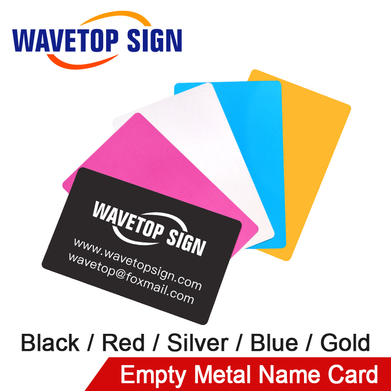 WaveTopSign 100Pcs/Lot Business Name Card Multicolor Aluminium Alloy Metal Sheet Testing Material For Laser Marking Machine