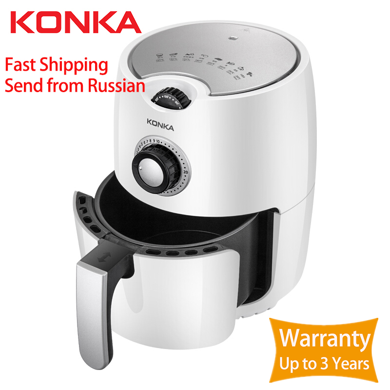 KONKA 2.5L Multifunction Air Fryer Chicken Oil Free Air Fryer Health Fryer Pizza Cooker Smart Touch LCD Electric Deep Airfryer