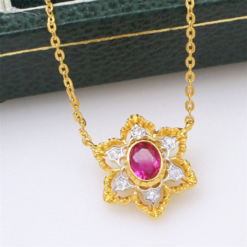 CMajor 925Sterling Silver Two-tone Flower Shape Hollow Out Necklace Sterling Silver Fine Jewelry Valentine's Day Gift for Women