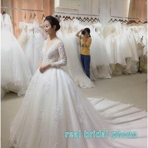 Image 5 - Vestido דה casamento ארוך שרוולים כלה שמלת 2020 V צוואר תחרה חתונה רומנטית שמלות Vestido דה noiva שמלת כלה