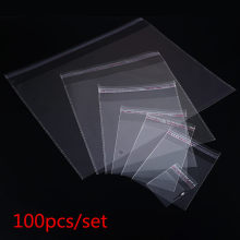 100pcs Multiple Size Clear Self-adhesive Cello Cellophane Bag Self Sealing Small Plastic Bag For Candy Packing Resealable Bags(China)