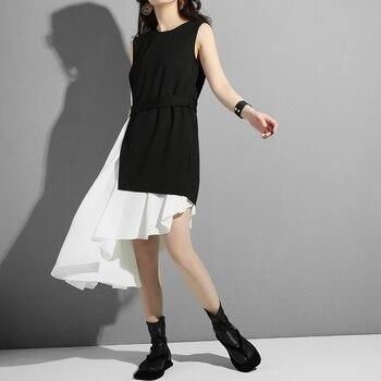 [EAM] Women Black Asymmetrical Split Two Piece Dress New Round Neck Long Sleeve Loose Fit Fashion Tide Spring Autumn 2020 45491S 2
