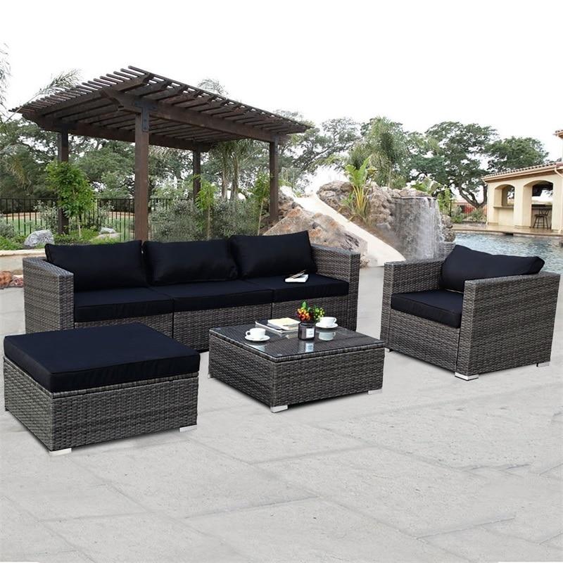 6 Pcs Patio Rattan Wicker Sectional Furniture Set W/ Black Cushion Outdoor Garden Furniture Sets HW59185+