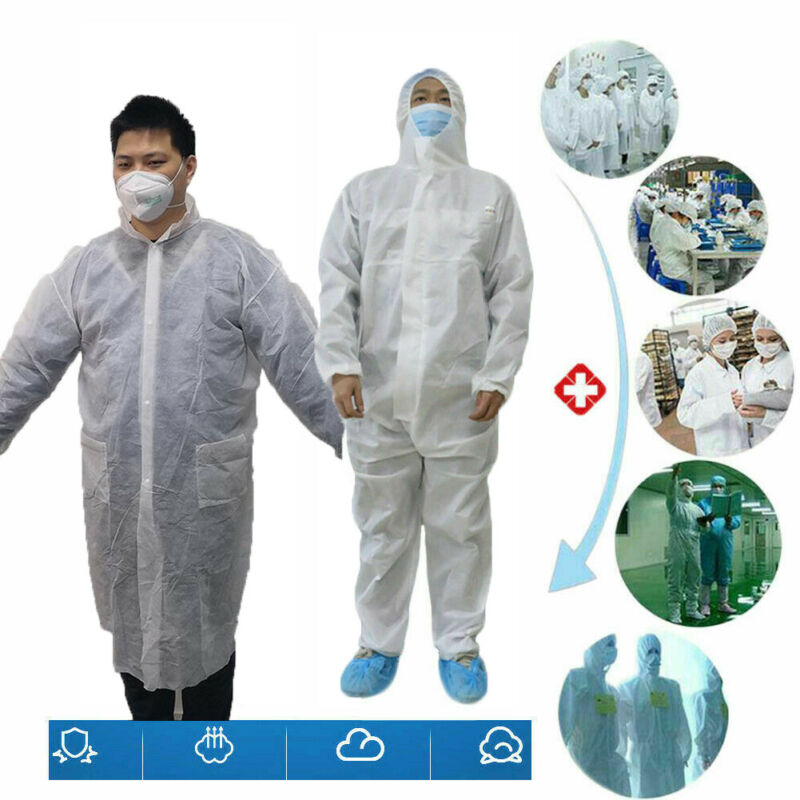 Reusable  Anti-epidemic Antibacterial Plastic Closures Isolation Suit Protective Clothing Dust-proof Coveralls Antistatic