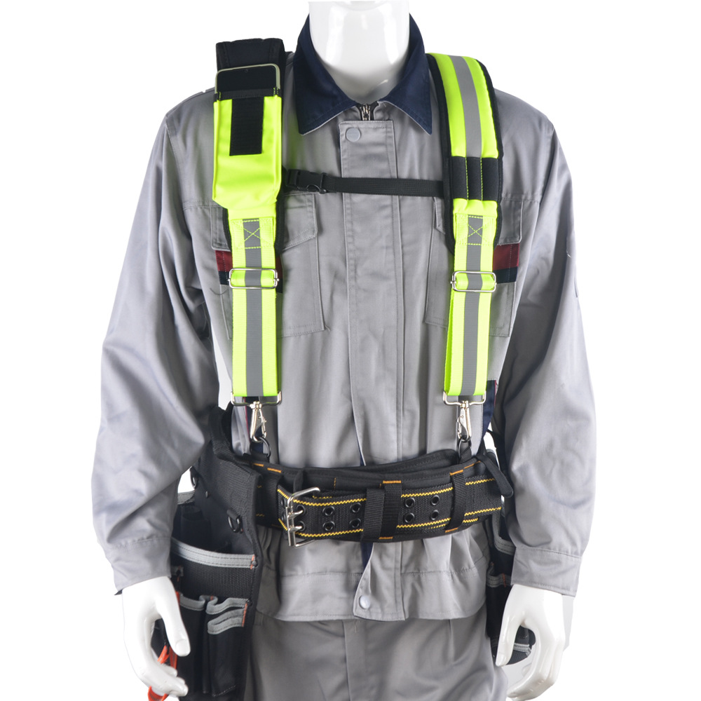 Heavy Duty Work Tool Belt Suspender H-shaped Fluorescent Green Reflective Strip Tool suspender To Reduce the Load