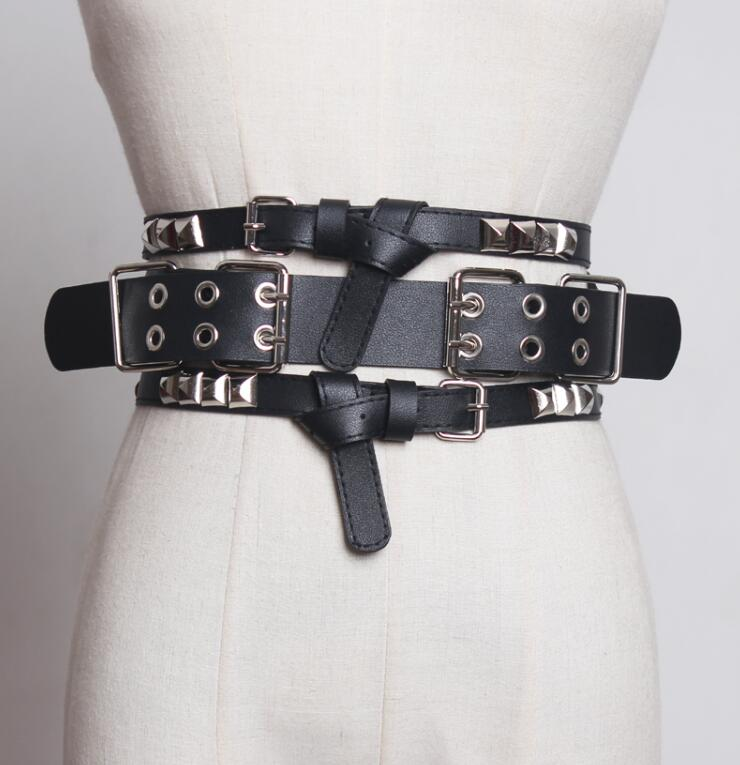 Women's Runway Fashion Rivet Pu Leather Punk Cummerbunds Female Dress Coat Corsets Waistband Belts Decoration Wide Belt R1754