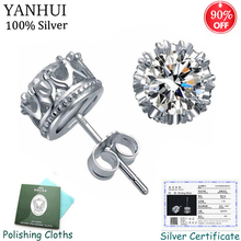 Sent Certificate! Original 925 Sterling Silver Clear Cubic Zircon Double Stud Earrings for Women Jewelry CE019