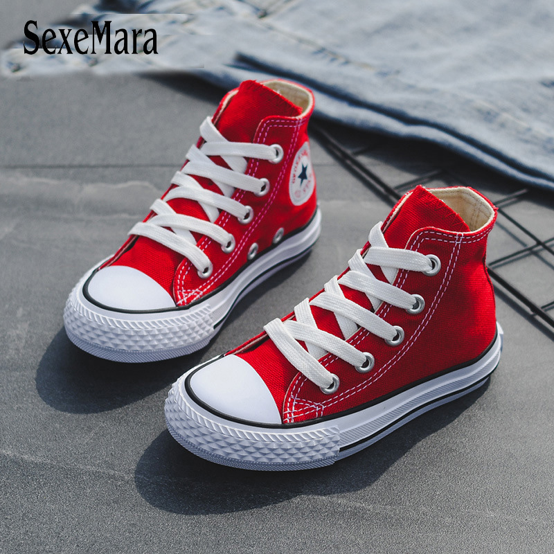 Children Casual Shoes Unisex 2019 Classic High Top Girls Canvas Shoes Student Lace Up Sneakers For Boys New Toddler Shoes B12031