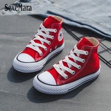 Zapatos casuales para niños Unisex 2019 Classic High Top, zapatos de lona para niñas, zapatillas de estudiante con cordones para niños, nuevos zapatos para niños B12031