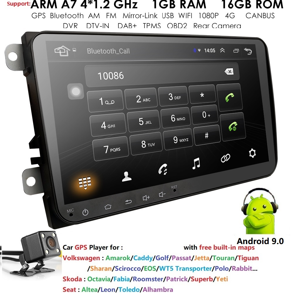 <font><b>Android</b></font> 9.0 <font><b>Car</b></font> Audio 2 Din <font><b>Car</b></font> NO DVD Player For V W <font><b>GOLF</b></font> <font><b>6</b></font> Polo Bora J'ETTA B6 PASSAT Tiguan SKODA OCTAVIA GPS <font><b>Radio</b></font> OBD DAB image