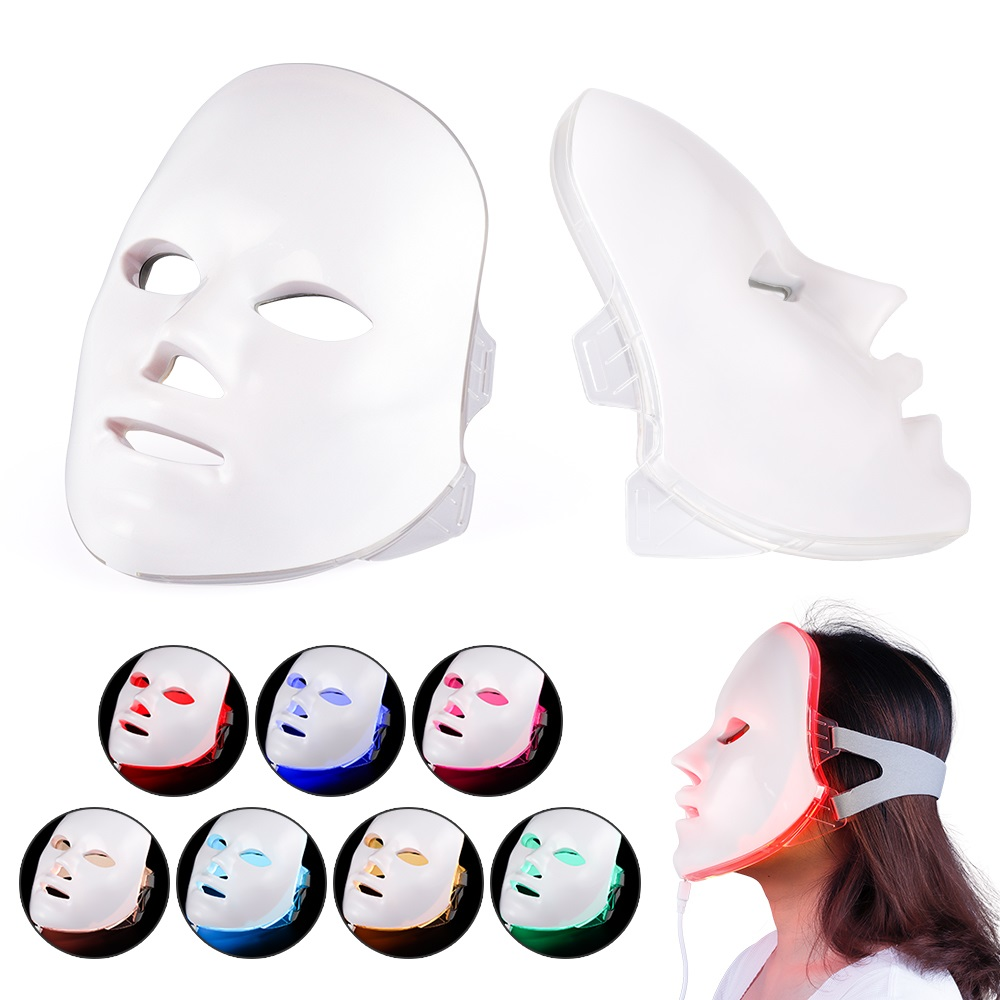 LED Facial Mask Beauty Skin Rejuvenation Photon Light 7 Colors Mask Therapy Wrinkle Acne Tighten Skin Tool Facial Machine