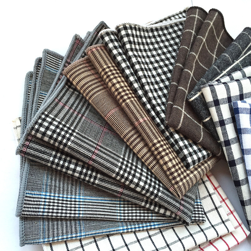 Fashion Plaid Suit Dinner Man Pocket Towel, England To Vanquish Cotton Cloth Edge Process Handkerchief Pocket Square