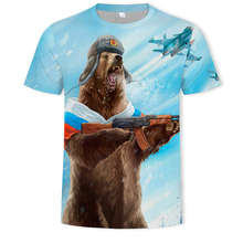Fashion gun bear 3D printing casual men's and women's t-shirts soft texture hip-hop clothing t shirt for men made in China