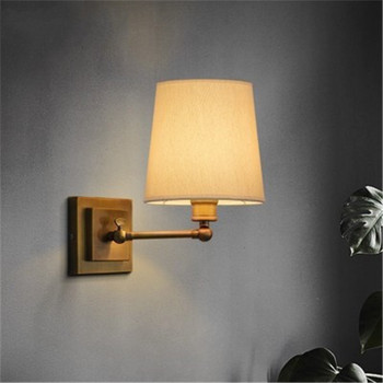 European Creative Wall Lamps Vintage Fabric Bedroom Dining Room Wall Lamp Living Room Decoration Wall Sconce Lamp Vanity Light white black wall lamp double heads e14 candle light metal crystal wall lamps european classic vintage wall lighting fixture