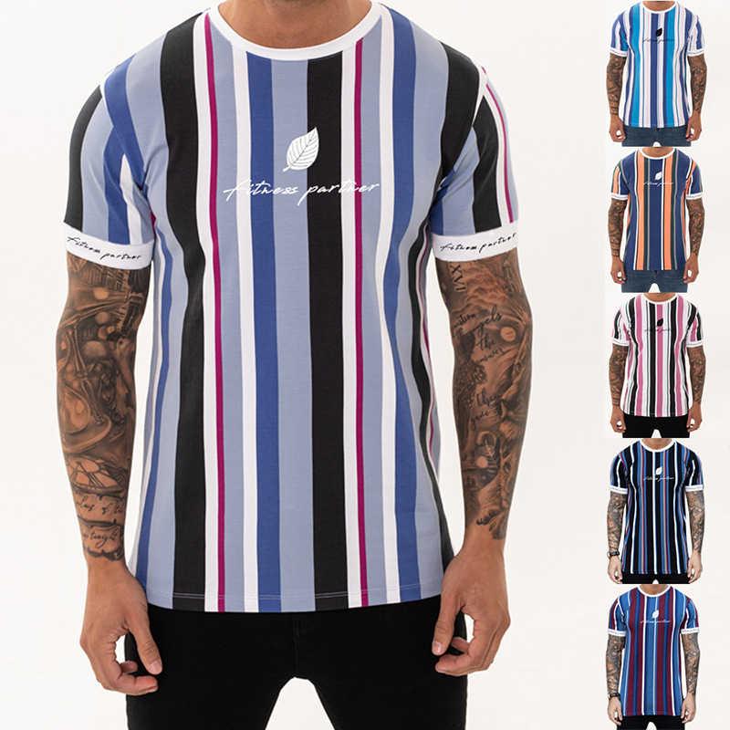 Мужская футболка YEMEKE летняя модная футболка s Повседневная полосатая рубашка короткие футболки для фитнеса с круглым вырезом мужская одежда