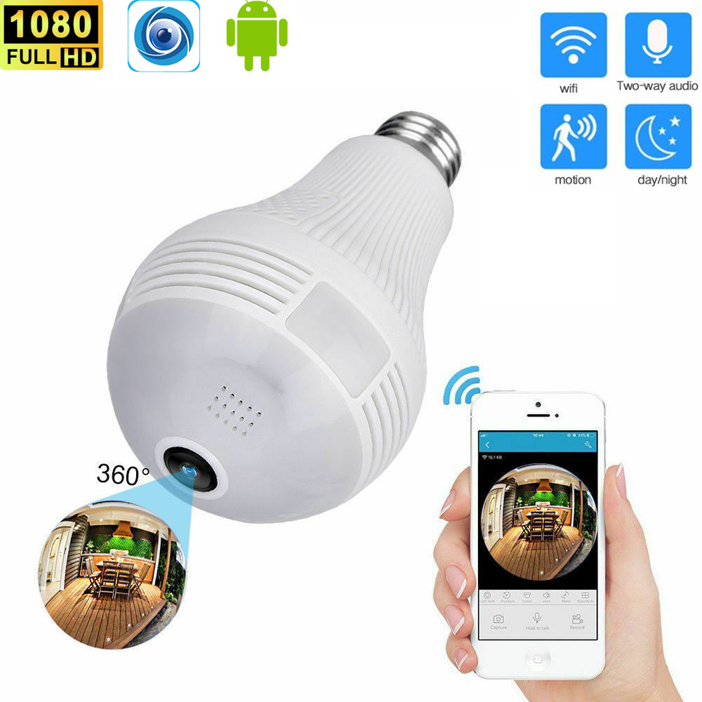 HD 1080P WiFi Wireless 360° Panoramic Fisheye Hidden Cam Bulb Light Panoramic Home Security Security WiFi CCTV Fisheye Bulb Lamp