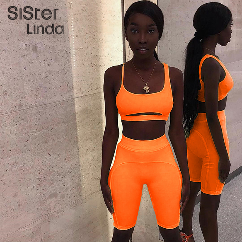 Sisterlinda Neon Outfits Fitness Sexy Strapless Hollow Out Cropped Top 2Pieces Female Set Summer Elastic Skinny Shorts Tracksuit