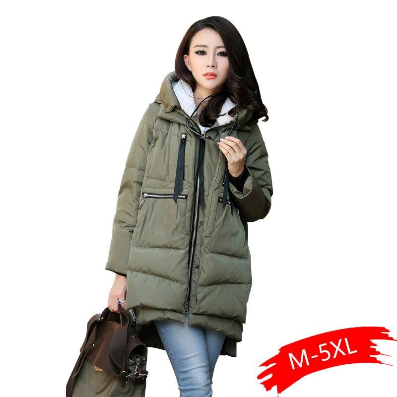Large Size M-5XL Women's Winter Cotton Coat Army Green Zipper Big Pocket Jacket Female Thicken Warm Hooded Outwear   Parkas