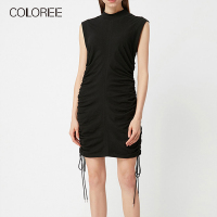 COLOREE Runway Designer 2019 New Women Dress Vintage Black Green Sleeveless Drawstring Mini Dress Sexy Slim Style Female Dress