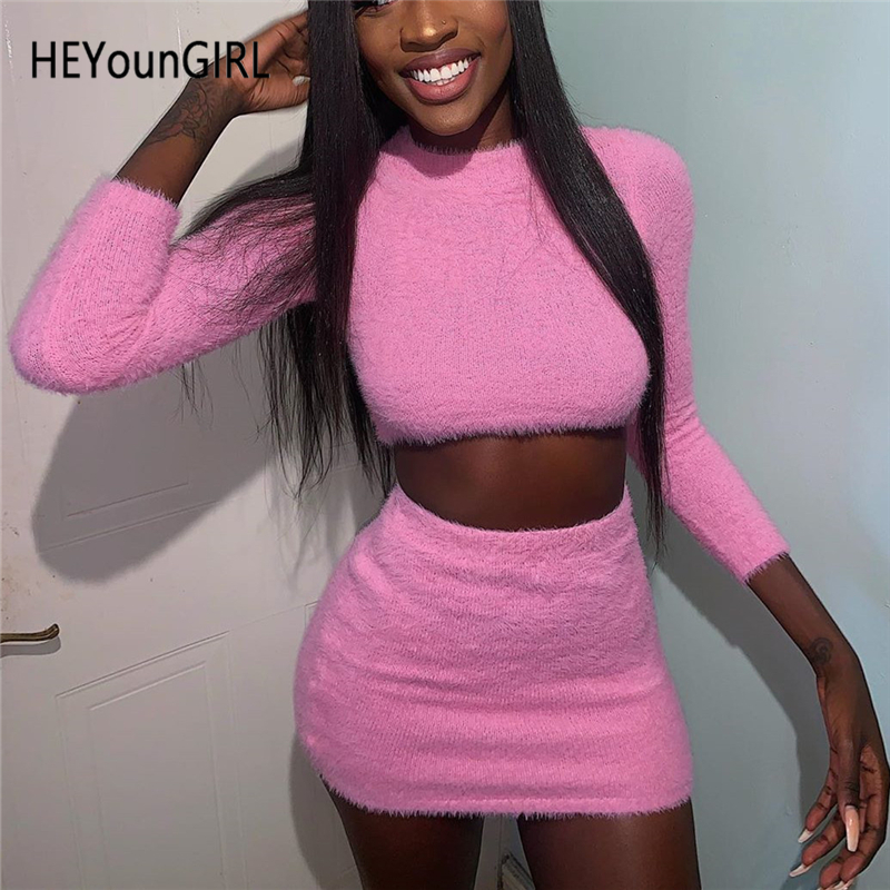 HEYounGIRL Casual Furry Two Piece Skirt Set Boydcon Long Sleeve Crop Top And Skirt Matching Set Fashion Pink Outfits Autumn 2019