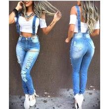Лидер продаж женские джинсовые комбинезоны рваные потертые джинсы