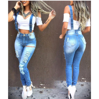 Hot Sale Ladies Denim Overalls Ripped Holes Washed Denim Ripped Jeans For Women Overalls Trousers Women Pants raw hem denim overalls