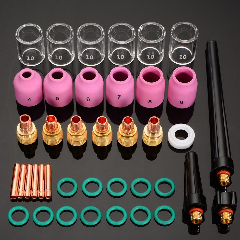 40 sztuk/partia spawanie tig Torch Collet soczewka gazowa kubek ze szkła Pyrex praktyczne akcesoria spawalnicze dla WP-9/20/25