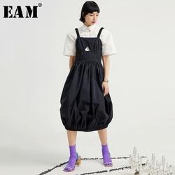 [EAM] Women Black Pleated Split Joint Spaghetti Strap Dress New Sleeveless Loose Fit Fashion Tide Spring Summer 2020 1U616