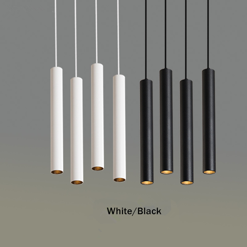 Simple Led Pendant Light Long Tube Lamp Modern Kitchen Lamp Dining Room Bar Counter Shop Hang Lamp Cylinder Pipe Pendant Lights