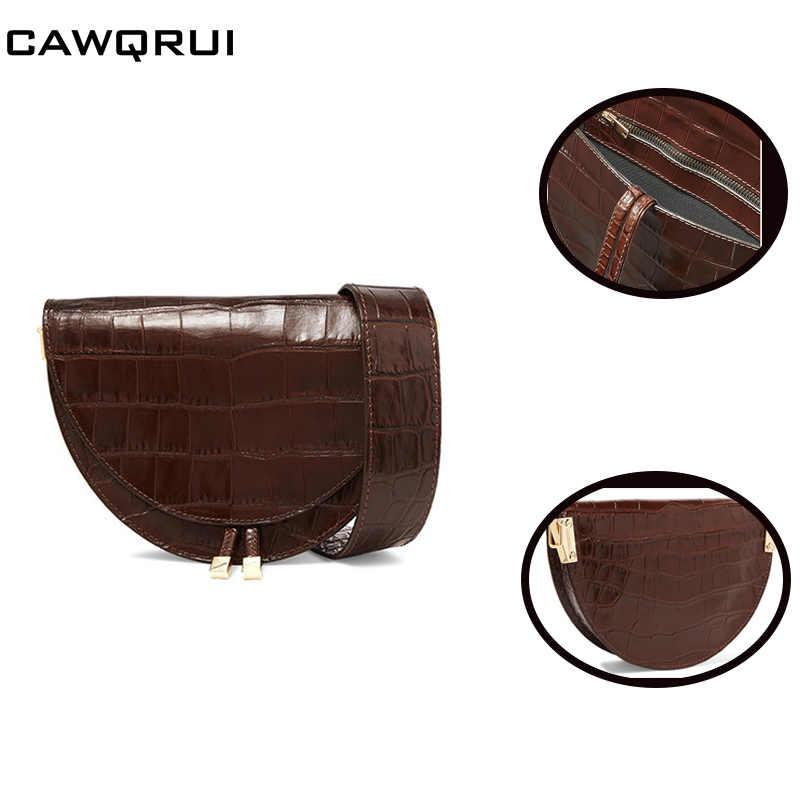 Design de luxo Senhoras Meia Lua Saddle Bag Animal Print Mulher Mensageiro Saco de Couro Retro de Largura Alça de Ombro Bolsa de Moda Quente