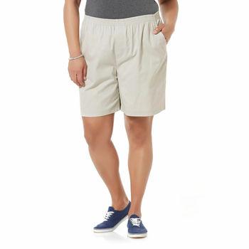 Womens Elastic Comfort Stretch Waist Shorts / Khaki Tan 2 Pocket Pull-On
