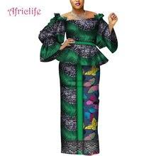 В африканском стиле на высоком каблуке юбочный костюм с длинным