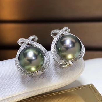 Fine Jewelry Pure 18 K Rose Gold 10-11mm Natural 10mm Tahiti Round Pearl Earrings for Women Fine Pearl Earrings 2