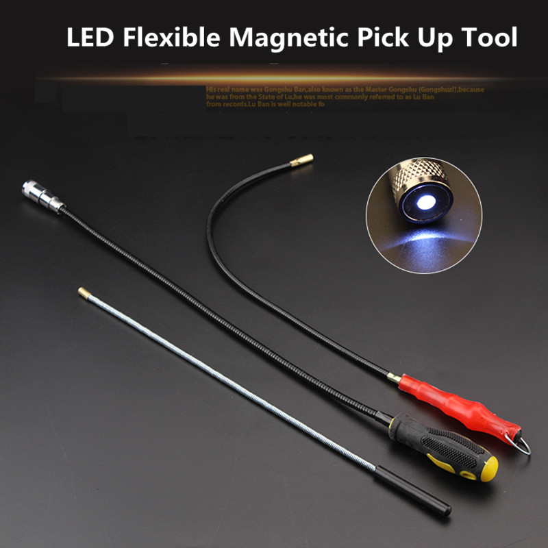57cm Flexible Magnetic Magnet Suck Rod Pick Up Tool 3 Type LED Strong Magnet Universal Suck Rod Extendable Pickup Rod Stick