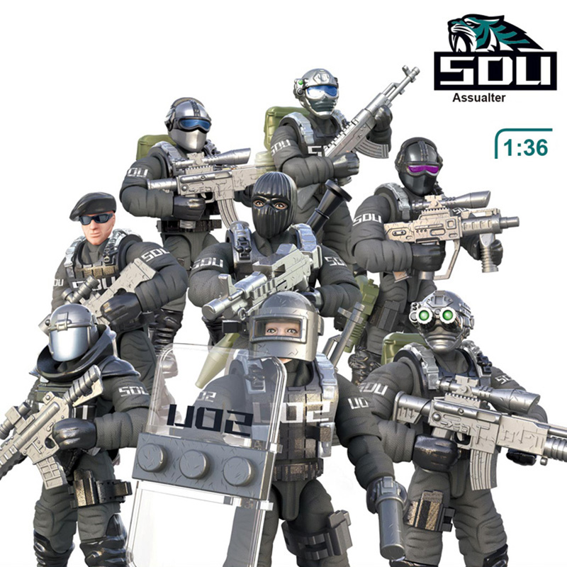 1:36 <font><b>Scale</b></font> SWAT Military Solider Figure Toys Set S.D.U army Action figures Team Model Combat <font><b>Gun</b></font> Game Toys For Boy Birthday Gift image