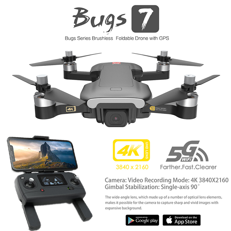 MJX Bugs 7 B7 GPS Drone 4K 5G WIFI HD Camera Brushless Motor RC Quadcopter Foldable Helicopter VS F11 X12 K20 Dron Toys Gift|RC Helicopters| |  - title=
