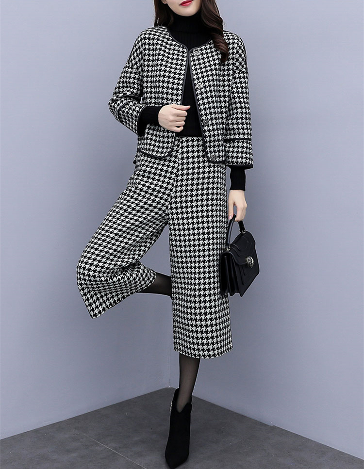 Image 4 - 2019 Autumn Winter Houndstooth Two Piece Sets Outfits Women 