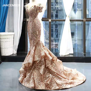 Image 1 - RSM66749 shiny mermaid wedding guest dress off the shoulder sweetheart lace up back trumpet evening dress with train abendkleid