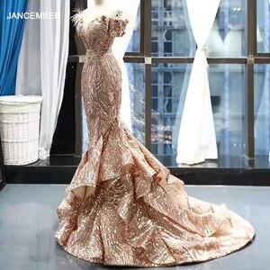 Image 1 - Rsm66749 brilhante sereia vestido de casamento convidado fora do ombro querida rendas até voltar trompete vestido de noite com trem abendkleid