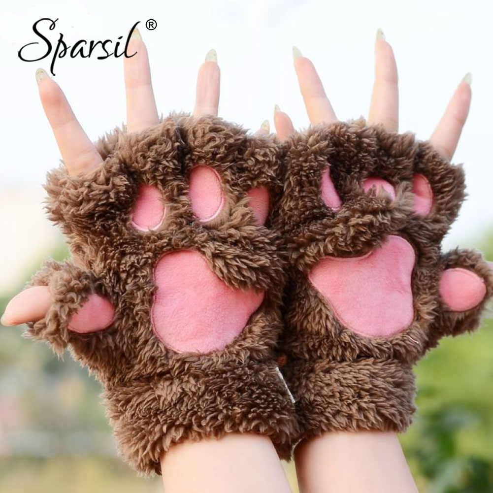 Sparsil Women Winter Half-Fingers Furry Gloves Cute Cat Claw Bear Paw Glove Fingerless Cosplay Thicken Plush Warm Gloves Mittens