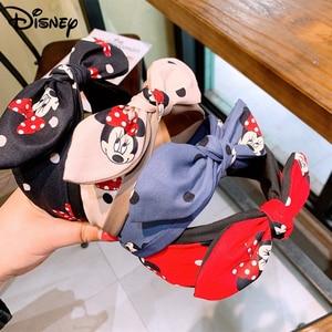 New Disney Mickey Mouse Lady Hair Hoops Accessories Cute Cartoon Baby Girls Bowknot Headband Minnie Dot Children Women Headwear