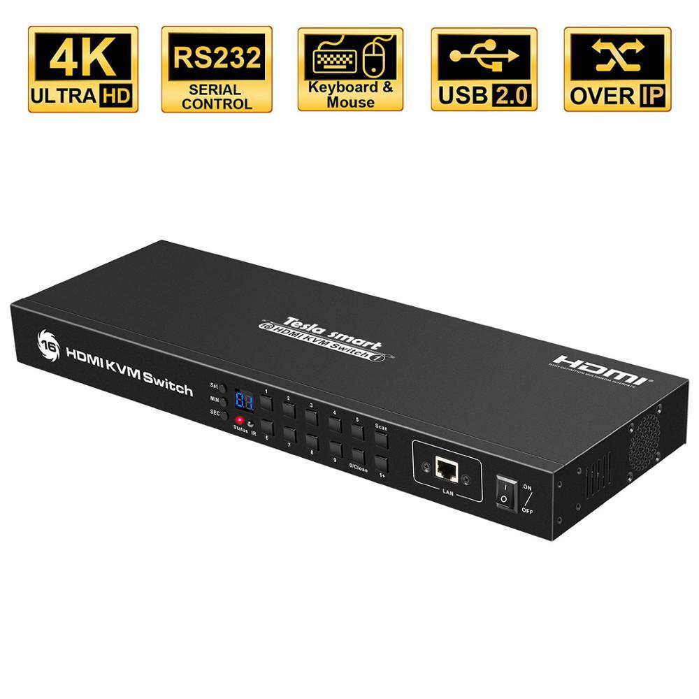 KVM Switch 16 Port USB HDMI KVM Switcher 16 In 1Out KVM HDMI Switch 16x1 Support 4k@30Hz RS232 LAN 2 Pcs Rack Ears Standard 1U