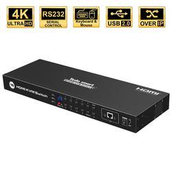 Kvm Switch 16 Port Usb Hdmi Kvm Switcher 16 In 1Out Kvm Hdmi Switch 16X1 Ondersteuning 4k @ 30Hz RS232 Lan 2 Stuks Rack Oren Standaard 1U